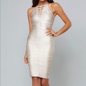 BEBE Kali Foil Bandage Dress